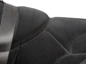 closeup of black bareback pad